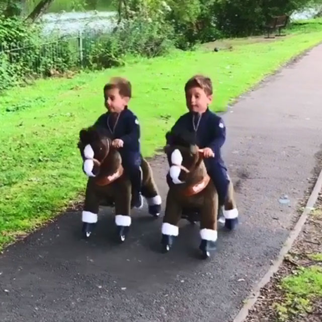 Twin brothers Pony Riders